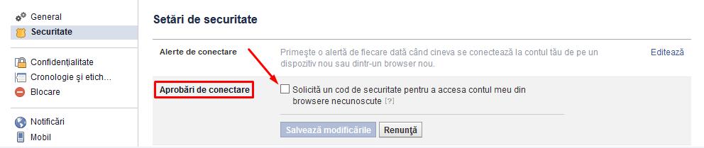 coduri de securitate facebook