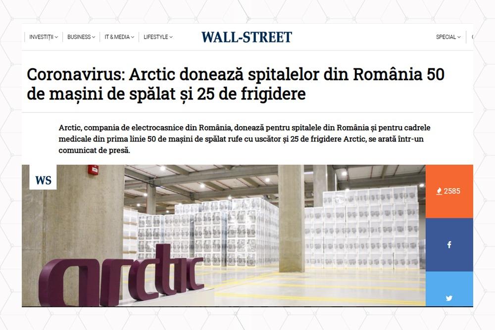 Arctic doneaza spitalelor masini de spalat