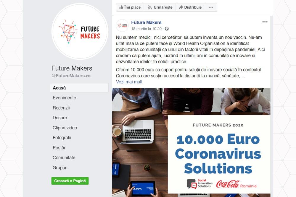 Future Makers ofera 10.000 de Euro suport pentru solutii impotriva COVID-19