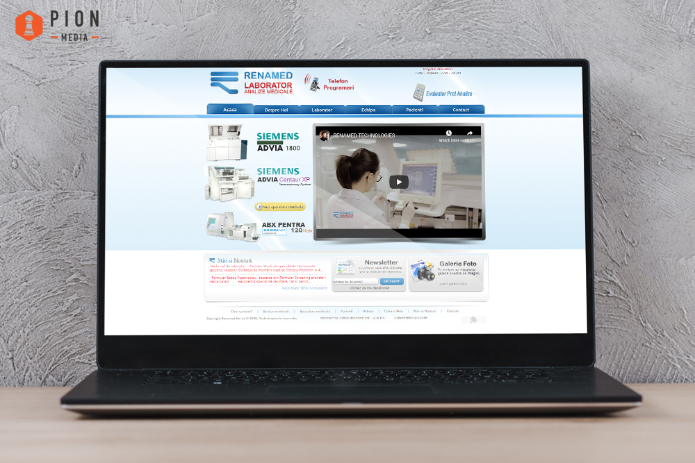 Vechiul website Renamed Laborator Analize Medicale inainte de colaborarea cu Pion Media